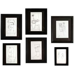 Set of Six Framed Line Drawings