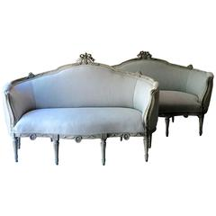 Pair of Decoratively Carved Swedish Gustavian Style Sofas
