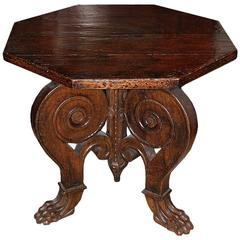 19th Century Tuscan Walnut Octagonal Center or Side Table