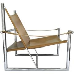 Architectural 1970s Milo Baughman Leather and Chrome Lounge Chair