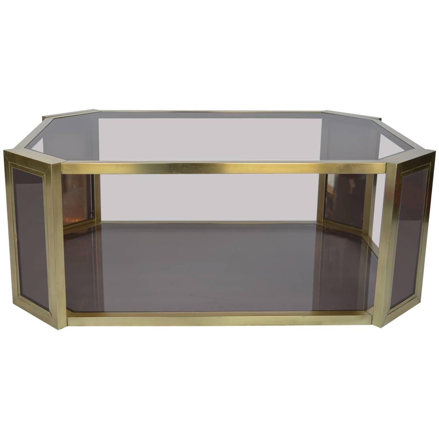 brass mirrored coffee table for sale at 1stdibs