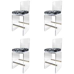 """Charles Hollis Jones """"Waterfall"""" Counter Stools in Lucite and Stainless Steel"""