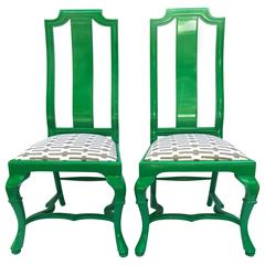 Chic Pair of 1970s Neo-Baroque Lacquered Hall Chairs