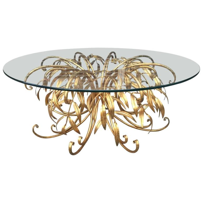 Italian Gold Gilt Iron And Glass Faux Bamboo Metal Square: Italian Gilt Metal Floral Coffee Table For Sale At 1stdibs