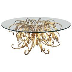 Italian Gilt Metal Floral Coffee Table
