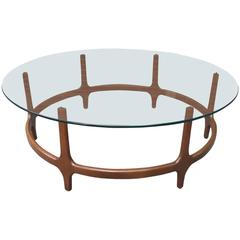 Sculptural Walnut Coffee Table in the Style of Adrian Pearsall