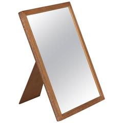 Oak Frame Antiqued Glass Table Mirror by Jean Michel Frank, French, 1930s