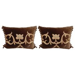 Pair of Gold Metallic Appliqued Silk Velvet Pillows