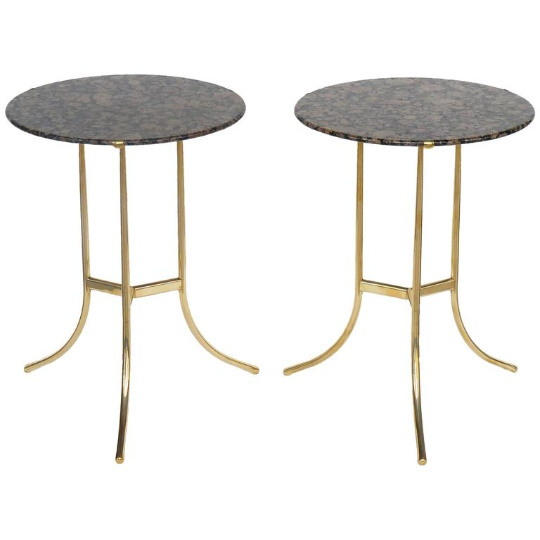 Pair of Bronze and Baltic Brown Tops Tables by Cedric Hartman