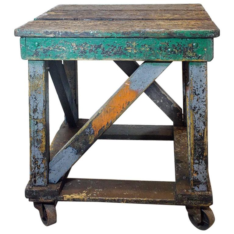 High Quality 1920s Wood Rolling Factory Table 1