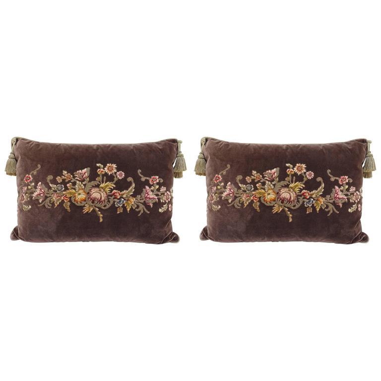 Pair of French Appliquéd Silk Velvet Pillows by Melissa Levinson