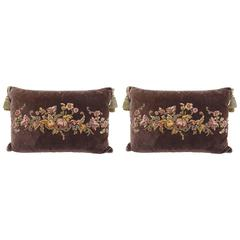 Pair of French Appliquéd Silk Velvet Pillows by Melissa Levinson