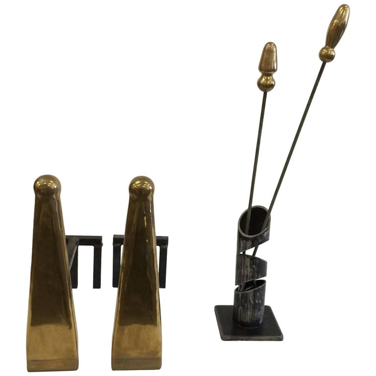 Artesian Solid Brass Modernist Andirons And Fire Tools For Sale At 1stdibs