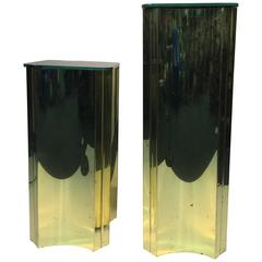 Terrific Set of Two Sculptural Curtis Jere Brass Pedestals with Mirrored Tops