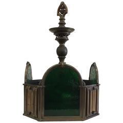 Bronze Green Slag Glass Hanging Light