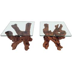 Driftwood Vintage Pair of Cypress Root End Side Tables Palm Beach Tree Freeform