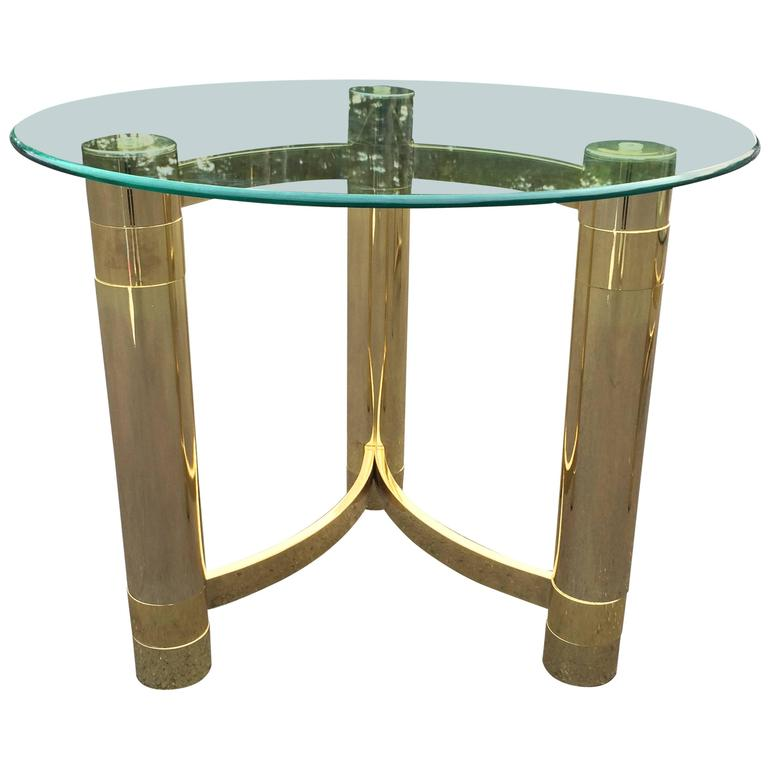 Hollywood Regency Brass and Glass Side Table