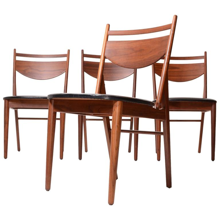 Set of Four Greta Grossman Walnut Dining by Glenn of California 1