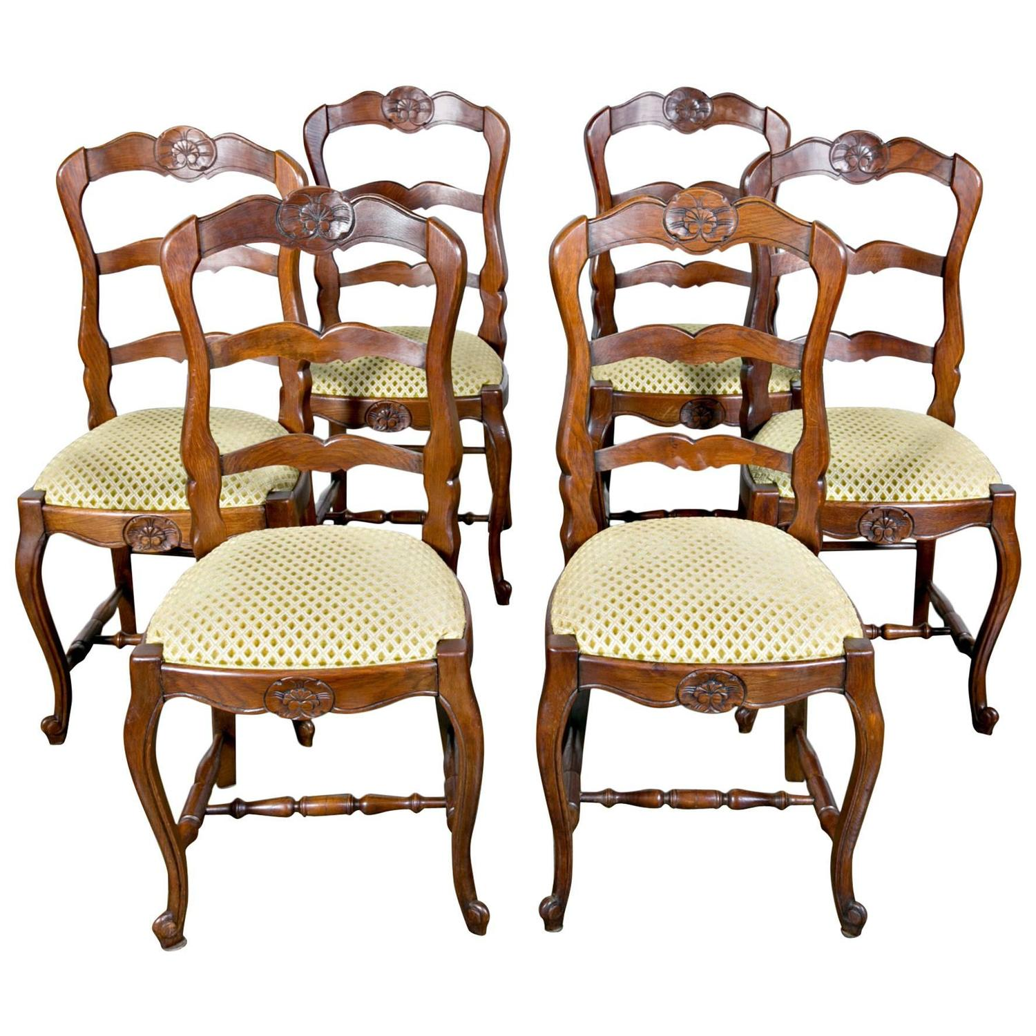 Set of Six Country French Ladder Back Chairs with Upholstered