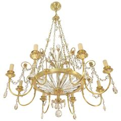 French Gilt Bronze and Glass Chandelier