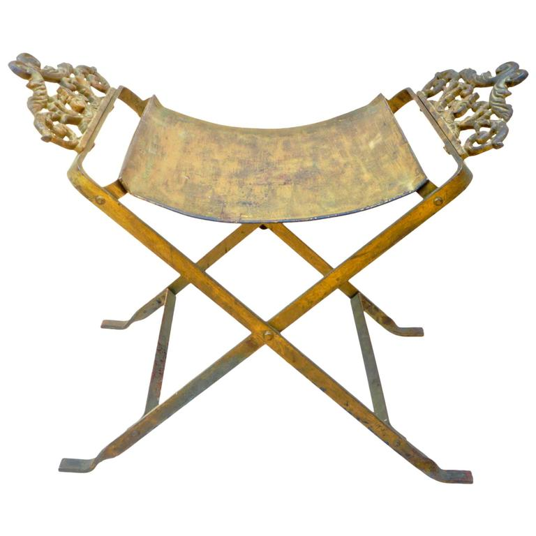 Gilt Metal Fireside Stool At 1stdibs