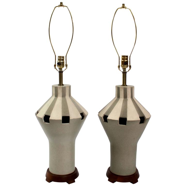 Pair of 1960s Bitossi Ceramic Table Lamps, Made in Italy