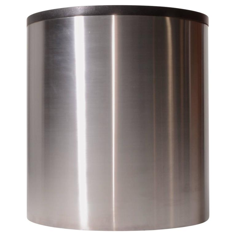 Brushed Stainless Steel and Marble Drum Table by Milo Baughman For Sale