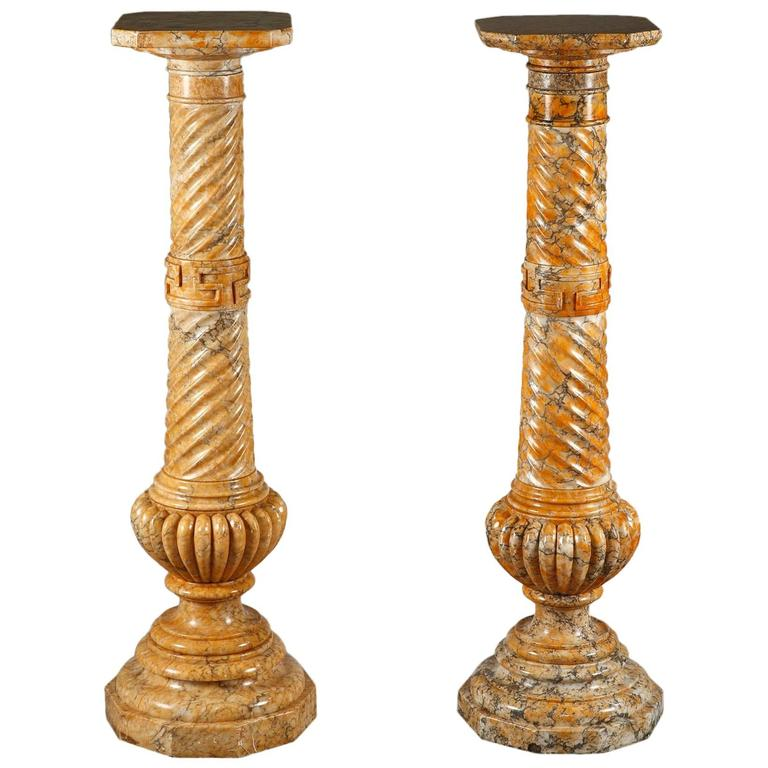 Two Spiraling Sienna Marble Columns For Sale