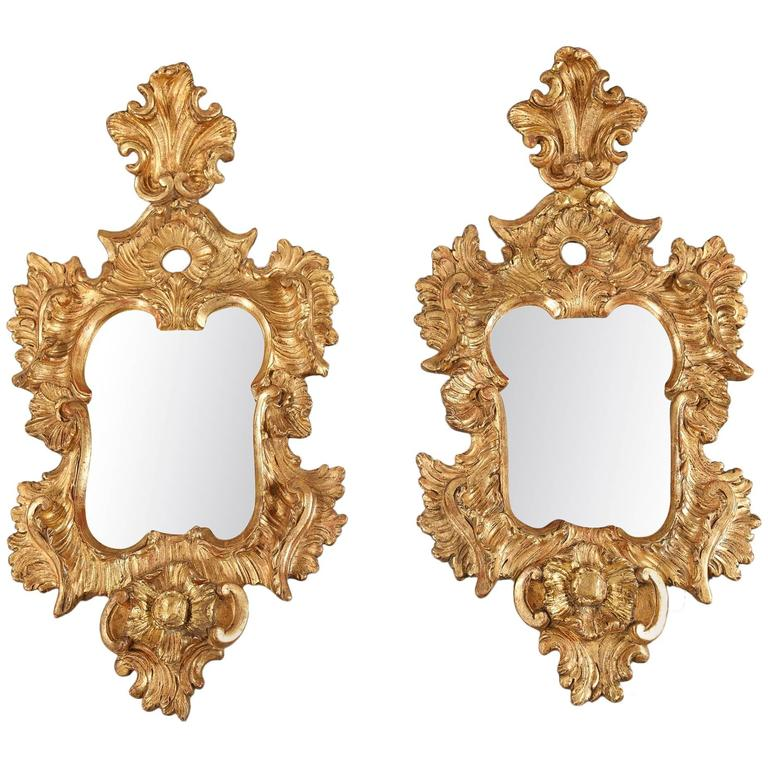 Pair of 18th century venetian giltwood mirrors baroque for Baroque style wall mirror