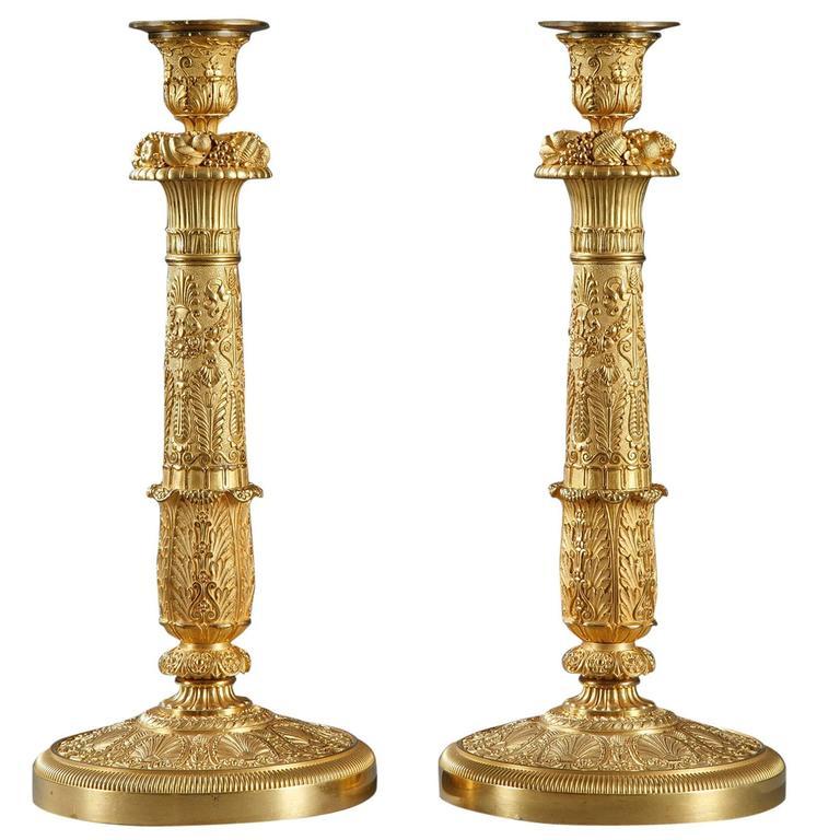 Pair of Restauration Gilt Bronze Candlesticks