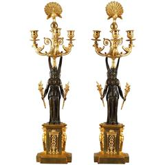 Pair of Empire Bronze Three Branched Candelabras