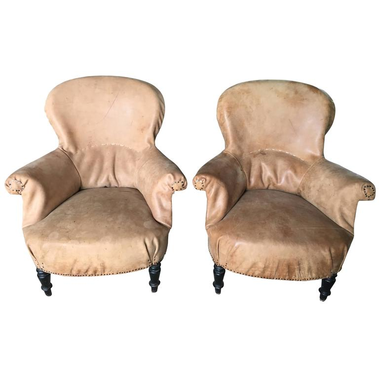 Antique French Salon Chairs Recovered in Leather from Czech Gym Mats For  Sale - Antique French Salon Chairs Recovered In Leather From Czech Gym Mats