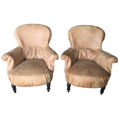 Antique French Salon Chairs Recovered in Leather from Czech Gym Mats