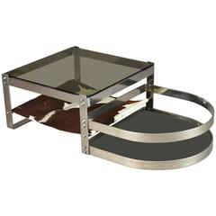 Stainless Steel Coffee Table in the style of Willy Rizzo in the 1970s