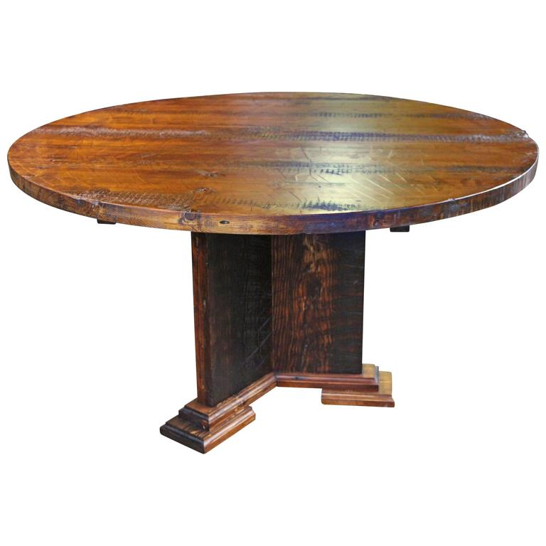 "Round Reclaimed Wood Semi Rustic Pine Dining Table with ""Y"" Style Pedestal Base"