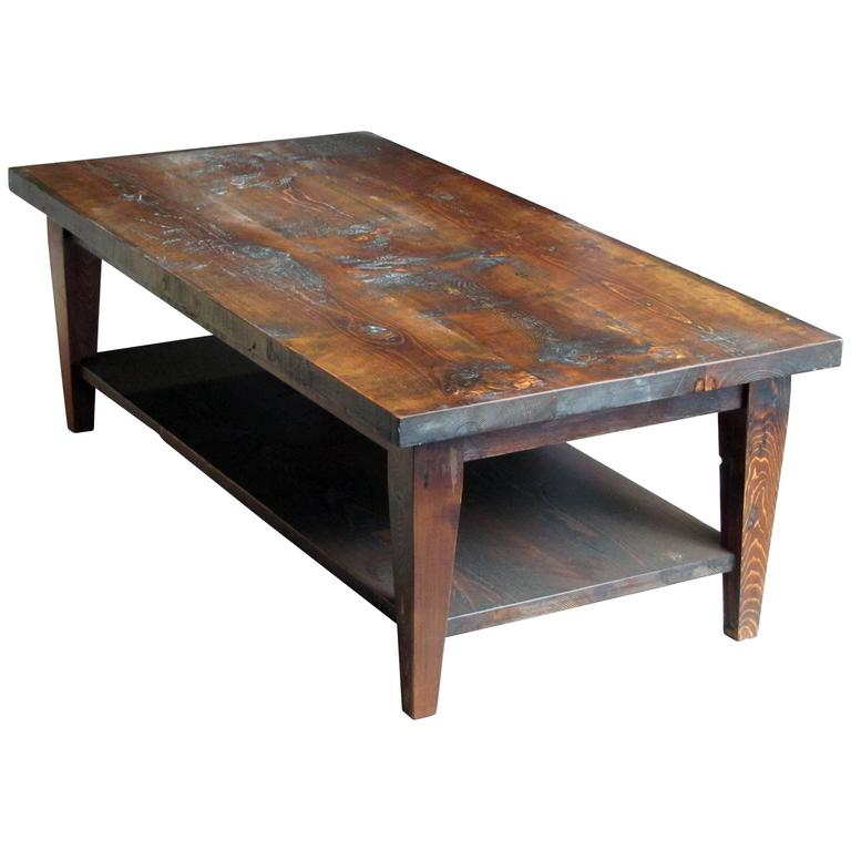 Reclaimed Semi Rustic Pine Coffee Table With Bottom Shelf And Tapered Legs For Sale At 1stdibs