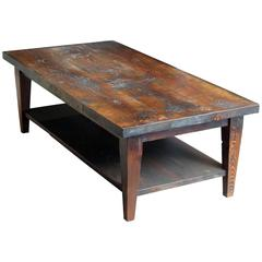 Reclaimed Semi Rustic Pine Coffee Table with Bottom Shelf and Tapered Legs