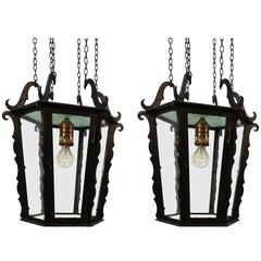 Pair of Wrought Iron Lanterns by Rudolf Lempp