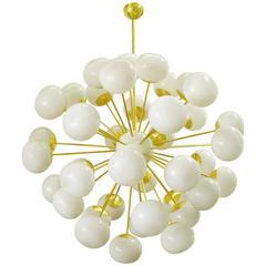 Italian Cream Glass Globes Sputnik Chandeliers by Fabio Bergomi