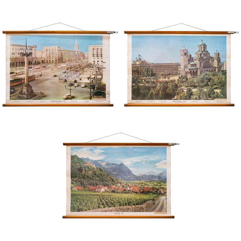 Set of Three Mid Century European Pictorial Charts of Warsaw, Belgrade & Vaduz 1