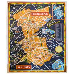 Vintage French Transportation Maps of Tourcoing and Roubaix