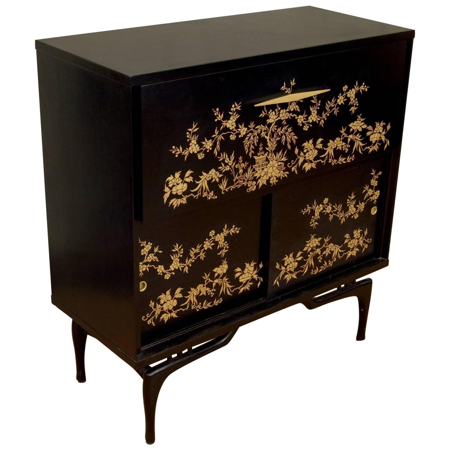 Black Lacquered Dry Bar With Chinoiserie Detailing For Sale At 1stdibs