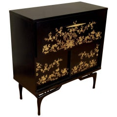 Black Lacquered Dry Bar with Chinoiserie Detailing