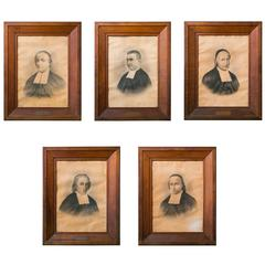 Collection of Five Antique Clergy Portraits in Heavy Oak Frames