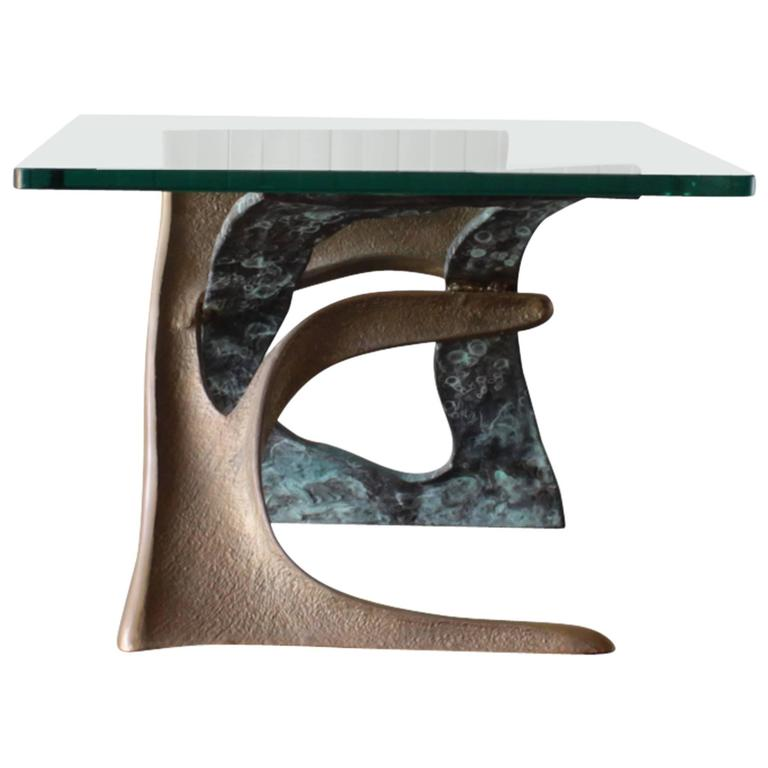 Brutalist Sculptural Bronze Side Table with Glass Top 1