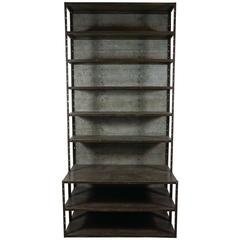 Industrial Gun Metal Bookcase with Extended Base