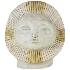 Sun Face Ceramic Sculpture by Paul Ballardo
