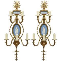 Pair of Brass Wedgewood Sconces