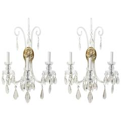 Pair of Dramatic Three-Arm Crystal Sconces in the Style of Lafount