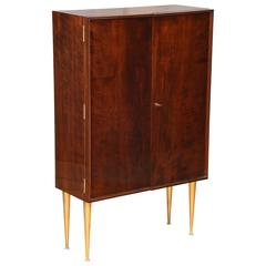 Art Deco Cabinet or Bar Exotic Wood on Bronze Legs